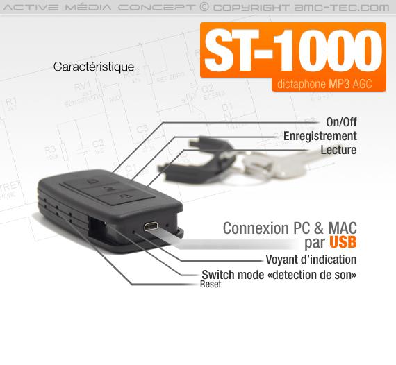 Porte-clés micro enregistreur audio numérique