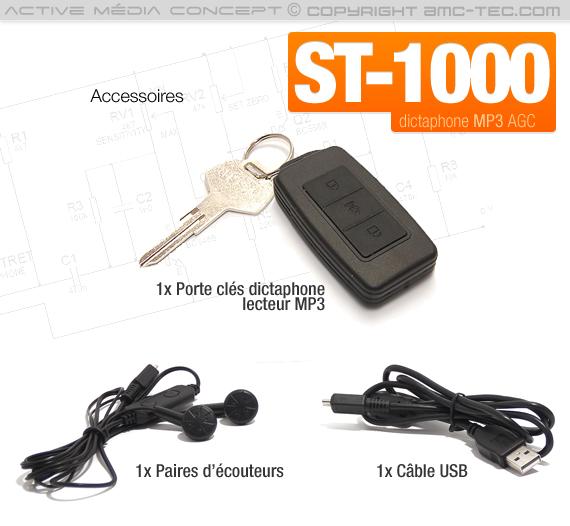 Porte-clés enregistreur audio numérique détection de son