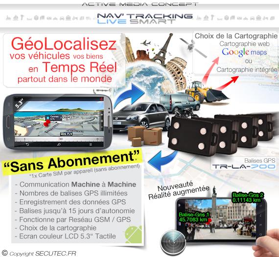 Nav Tracking Live avec 5 balise GPS et un Smartphone