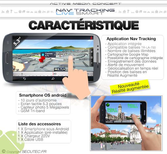 Nav Tracking Live avec 8 balise GPS et un Smartphone
