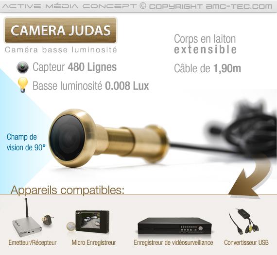 Caméra cachée judas pour porte avec champ de vision de 90° comptible avec les DVR du marché
