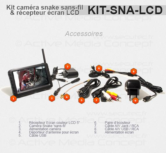 Accessoires Kit caméra snake sans fil avec récepteur LCD