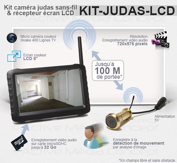 """Fonction du Kit caméra judas sans fil avec récepteur LCD couleur 5"""""""