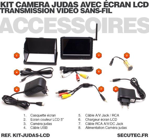 Accessoires du Kit caméra judas sans fil avec récepteur