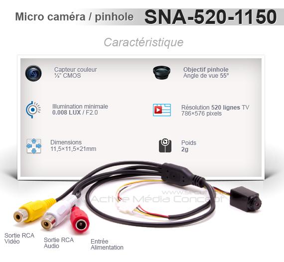 Micro caméra snake couleur 520 Lignes avec objectif pinhole