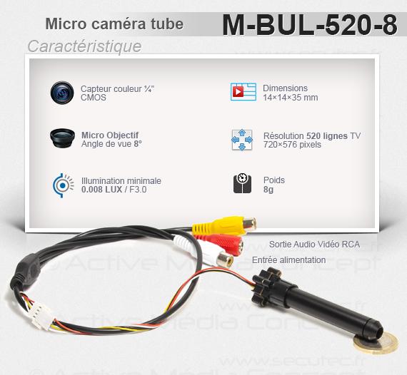 Micro caméra tube 520 Lignes angle de vue 8° illumination 0.008 LUX