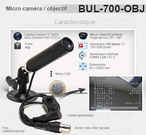 Micro caméra tube couleur 700 lignes waterproof avec micro objectif
