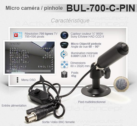 Micro caméra tube avec objectif pinhole