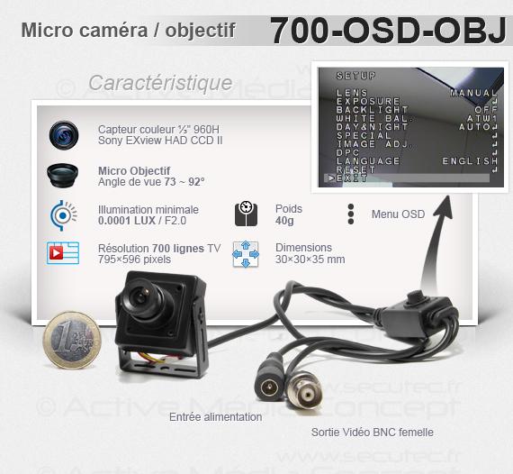 Micro caméra carrée couleur 700 lignes avec micro objectif