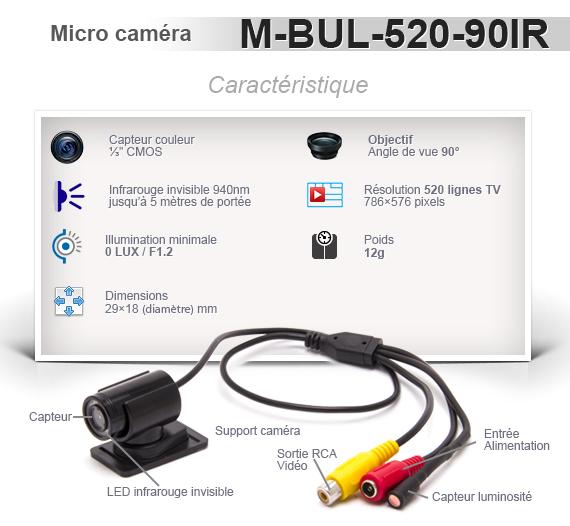 Micro caméra de vidéosurveillance 520 Lignes