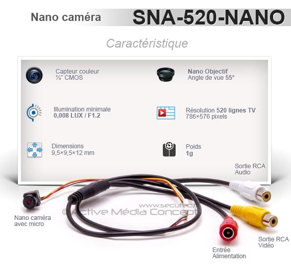 Nano caméra snake couleur 520 Lignes