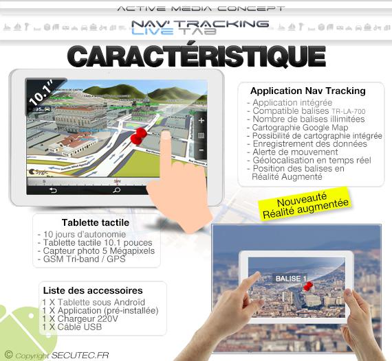 Caracteristique Kit de géolocalisation avec 1 balise GPS