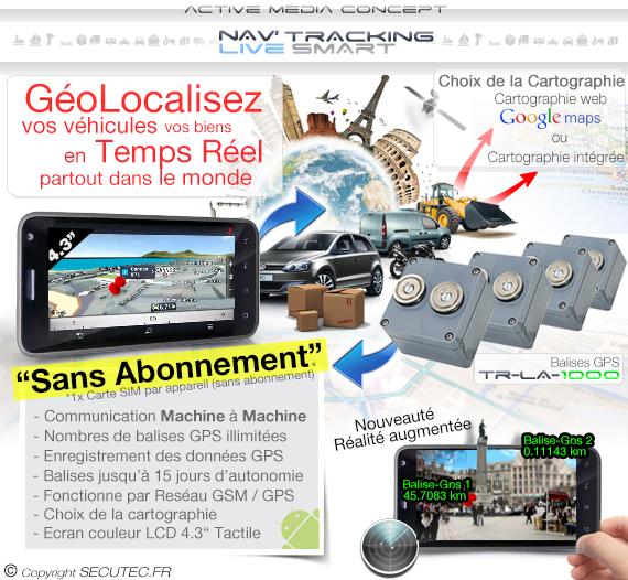 """Kit de géolocalisation en temps réel écran tactile 5.3"""" et 1 balise GPS"""