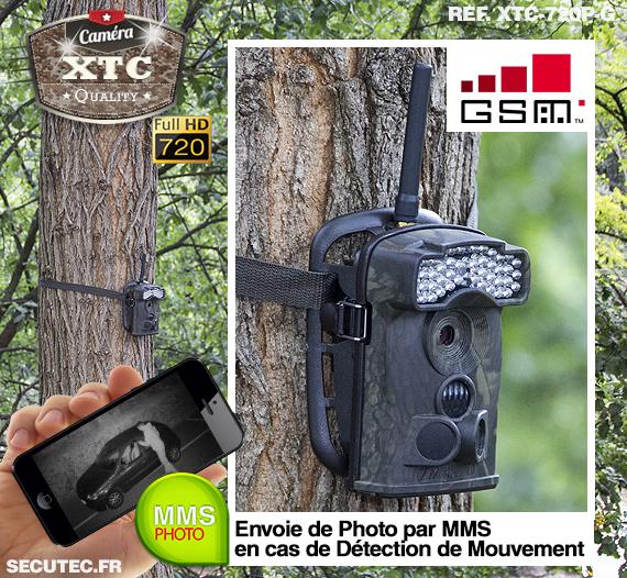 La caméra XTC-720P-G fixée à un arbre