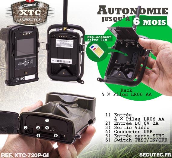 Batterie de la caméra XTC-720P-GI