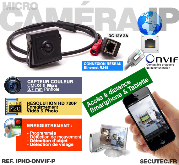 Micro caméra IP HD 720P avec reconnaissance faciale
