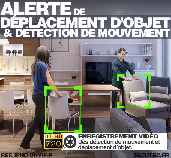 Caméra avec alerte de déplacement d'objet et détection de mouvement