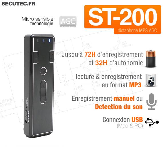 Micro enregistreur audio numérique avec détection de son 1