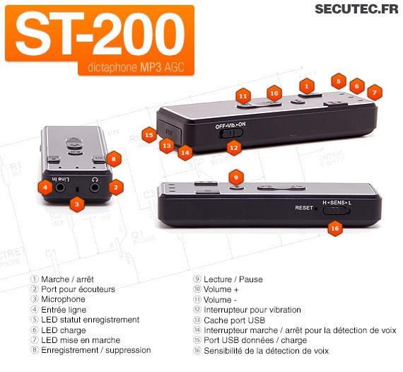 Micro enregistreur audio numérique avec détection de son 2