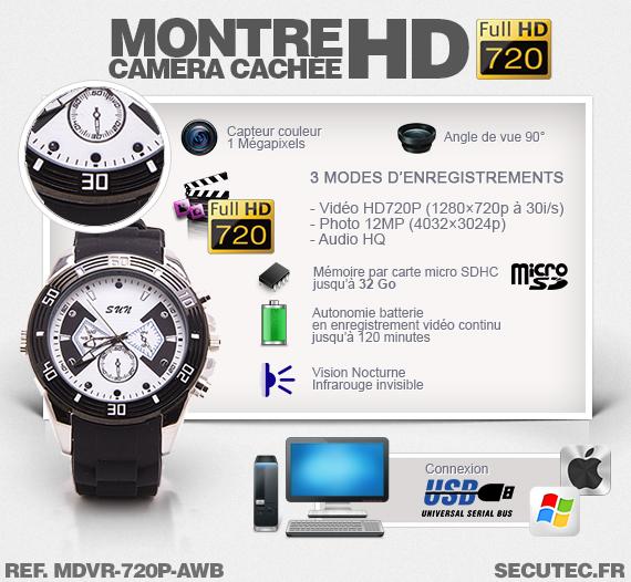 Les caractéristiques de la montre caméra cachée MDVR-720P-AWB