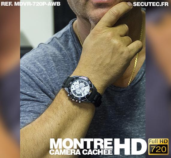 La montre caméra cachée  MDVR-720P-AWB portée