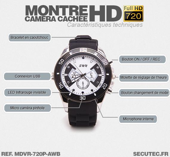 Fonctionnement de la montre caméra cachée MDVR-720P-AWB