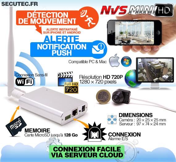 Micro caméra HD 720P IP WiFi avec détection et accès smartphone