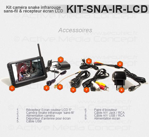 Les accessoires fournis avec le KIT-SNA-IR-LCD