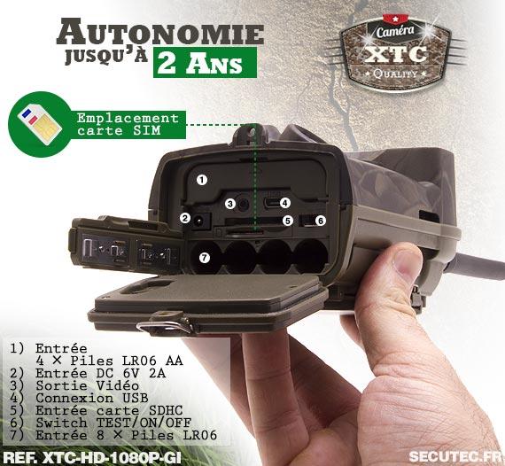 Le rack batterie de la caméra XTC-HD-1080-GI