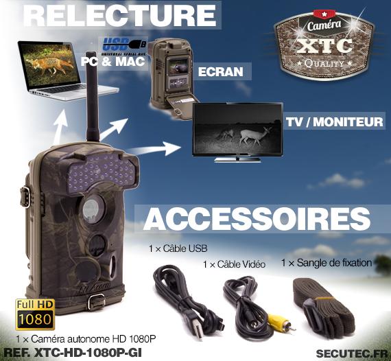 Les accessoires de la caméra XTC-HD-1080-GI
