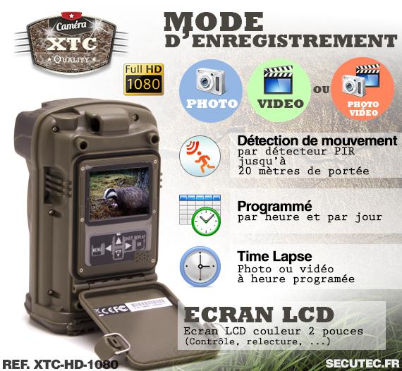 Les différents modes d'enregistrement de la caméra XTC-HD-1080