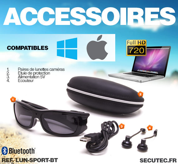Les accessoires vendus avec les lunettes LUN-SPORT-BT