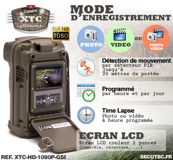 Les modes d'enregistrement de la caméra XTC-HD-1080-GI