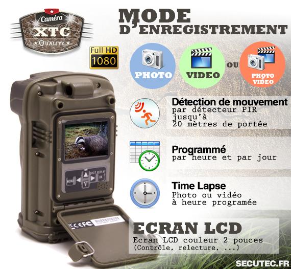 Les différents modes d'enregistrement de la caméra XTC-HD-1080-SI