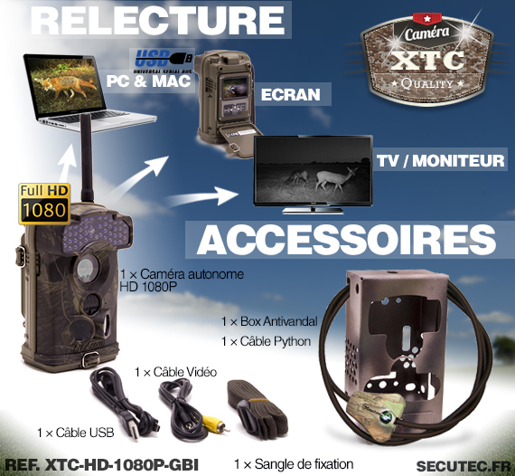 Les accessoires du kit XTC-HD-1080-GBSI