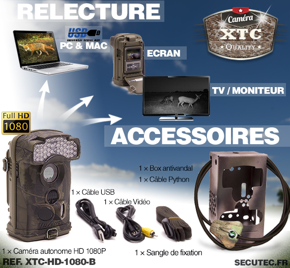 Les accessoires de la caméra XTC-HD-1080