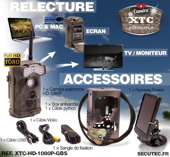 Les accessoires fournis avec la caméra XTC-HD-1080-G