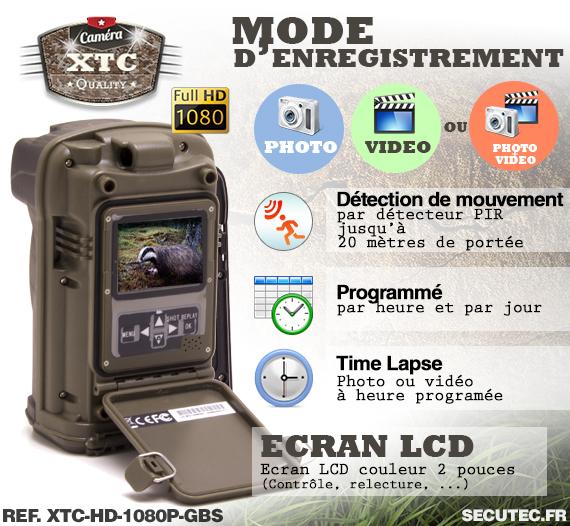 Les modes d'enregistrement de la caméra XTC-HD-1080-G