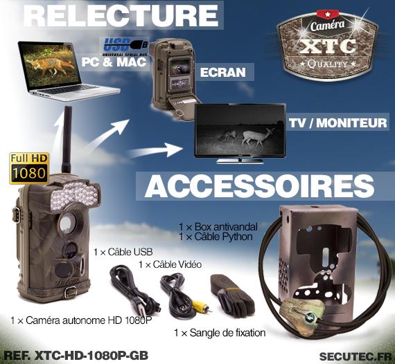 Les accessoires de la caméra XTC-HD-1080-GB