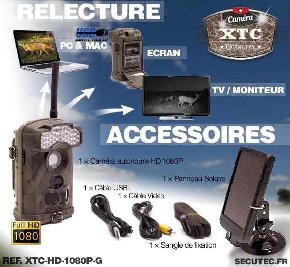 Les accessoires de la caméra XTC-HD-1080-GS