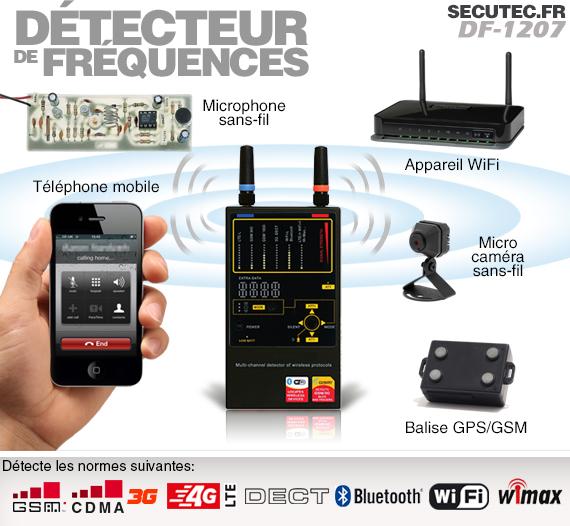 Détecteur de fréquence pour caméra cachée, micro sans-fil, téléphone mobile, balise GPS, etc.