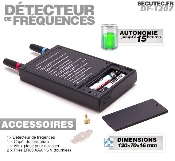 Vue arrière du détecteur d'ondes GSM, WiFi & 3G, avec compartiment pour piles