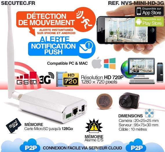 Micro caméra HD 720P IP 3G GSM avec détection et accès smartphone