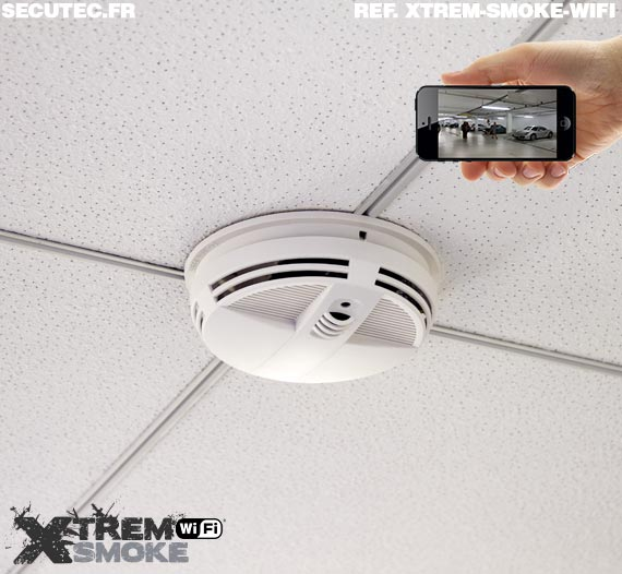 Caméra cachée HD 720P WiFi détecteur de fumée longue autonomie avec détection de mouvement