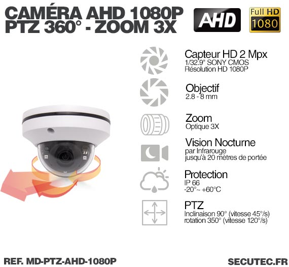 Description mini camera dôme PTZ