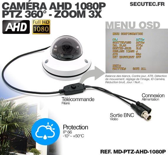 menu OSD camera dôme PTZ