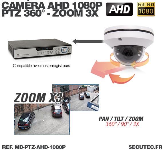 Zoom 3X camera dôme PTZ