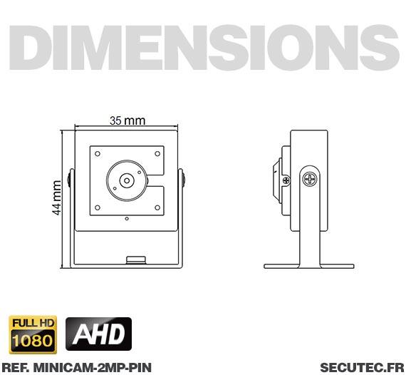 Micro caméra basse luminosité 3 MP - Dimensions