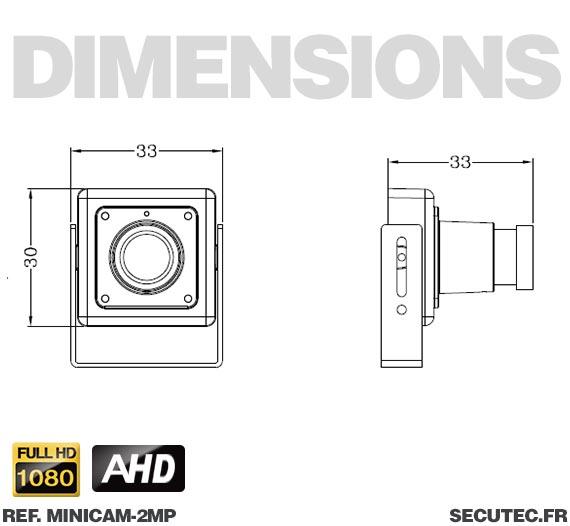 Micro caméra basse luminosité - Dimensions