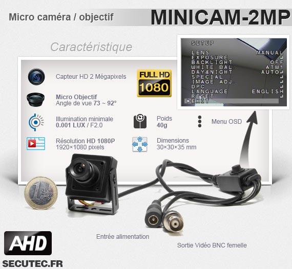 Micro caméra basse luminosité - Caractéristiques